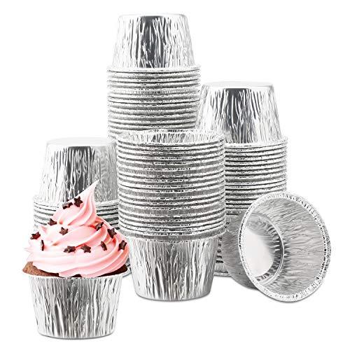 100Pcs Aluminum Cupcake Liner, Eusoar 3.5 Ounce Disposable Aluminum Foil Baking Cups, Ramekin Muffin Liners Cup, Pudding Liners Holders, Aluminum Cupcake Tip Pan Ramekin Holders