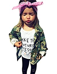 Kids Baby Girls Camouflage Letters Print Coat Casual Denim Windbreaker Jackets