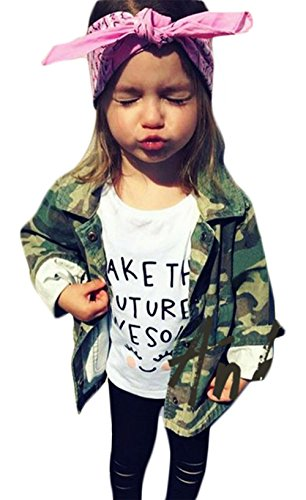 Kids Baby Girls Camouflage Letters Print Coat Casual Denim Windbreaker Jackets Size 3-4T/Tag3 ()
