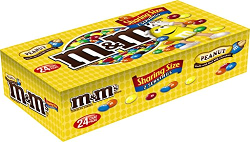M&M'S Peanut Chocolate Candy Sharing Size 3.27-Ounce Pouch (Box of 24)