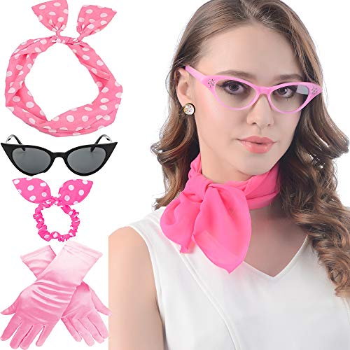 Cat Eye Glasses 1950's Womens Costume Accessories Scarf Bandana TieDrop Dot Earring 50's Outfit Poodle Skirt Costume Kit ()