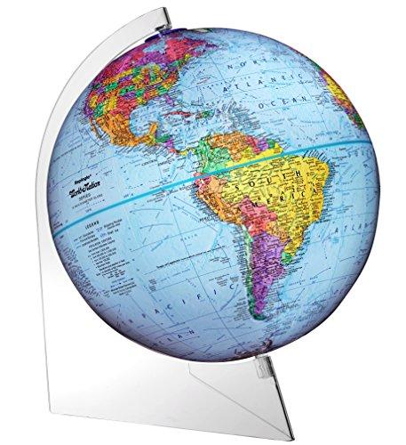 Replogle Desktop World Globe (Replogle Panorama — Blue Ocean Political Globe, Raised Relief Map, Smooth 360° Rotation, Acrylic Lightweight Base, Minimalistic Desktop Design (12
