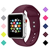 Sport Band For Apple Watch Band 38mm 42mm,Bandx Straps Soft Silicone Adjustable Wristbands Replacement Bands for Women Men iWatch Apple Watch Series 3, Series 2, Series 1, (Wine Red 38 M/L)