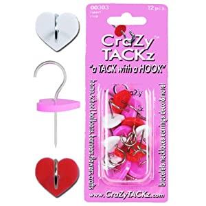 Crazy Tackz The Tack with a Designer Hook, Heart Red/White/Pink
