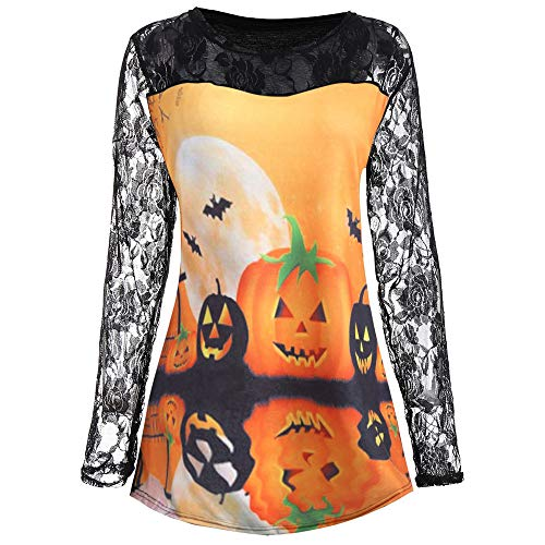 Toimoth Women Halloween Pumpkin Face Print Long Sleeve Shirt Lace Blouse Tops T Shirt(Black,2XL)