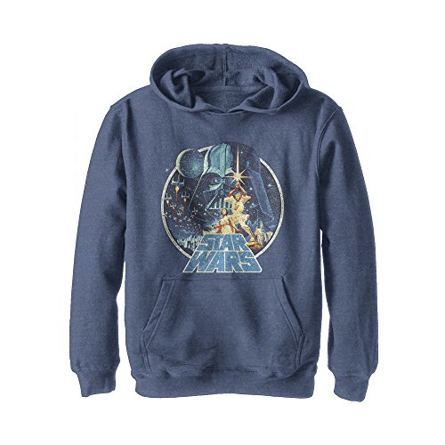 Star Wars Boys' Vintage Art Frame Navy Blue Heather Hoodie