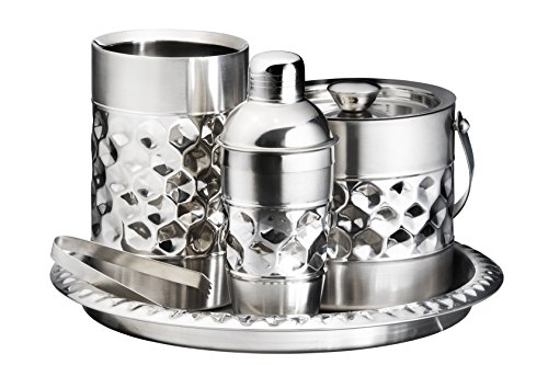 Francois et Mimi Stainless Steel Bar Tools Set, Including Ice Bucket, Wine Chiller, Cocktail Shaker and Serving Tray by Francois et Mimi