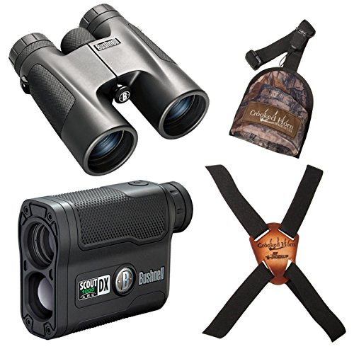 Bushnell 10x42mm Powerview Binoculars + 6x21 Scout Laser Rangefinder + Crooked Horn Dual Harness System