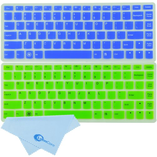 """LeenCore® 2-Pack Ultra Thin Translucent Silicone Keyboard Protector Skin Cover for Lenovo IdeaPad U300 U300s U310 U400 U410 U430 U430p Z400 P400 S300 S400 S405 Yoga 13-IFI Yoga 2 Pro Convertible Ultrabook US Layout (if your """"enter"""" key looks like """"7"""", our skin can't fit) (Blue+Green)+ 1x Microfiber Cleaning Cloth from LeenCore"""