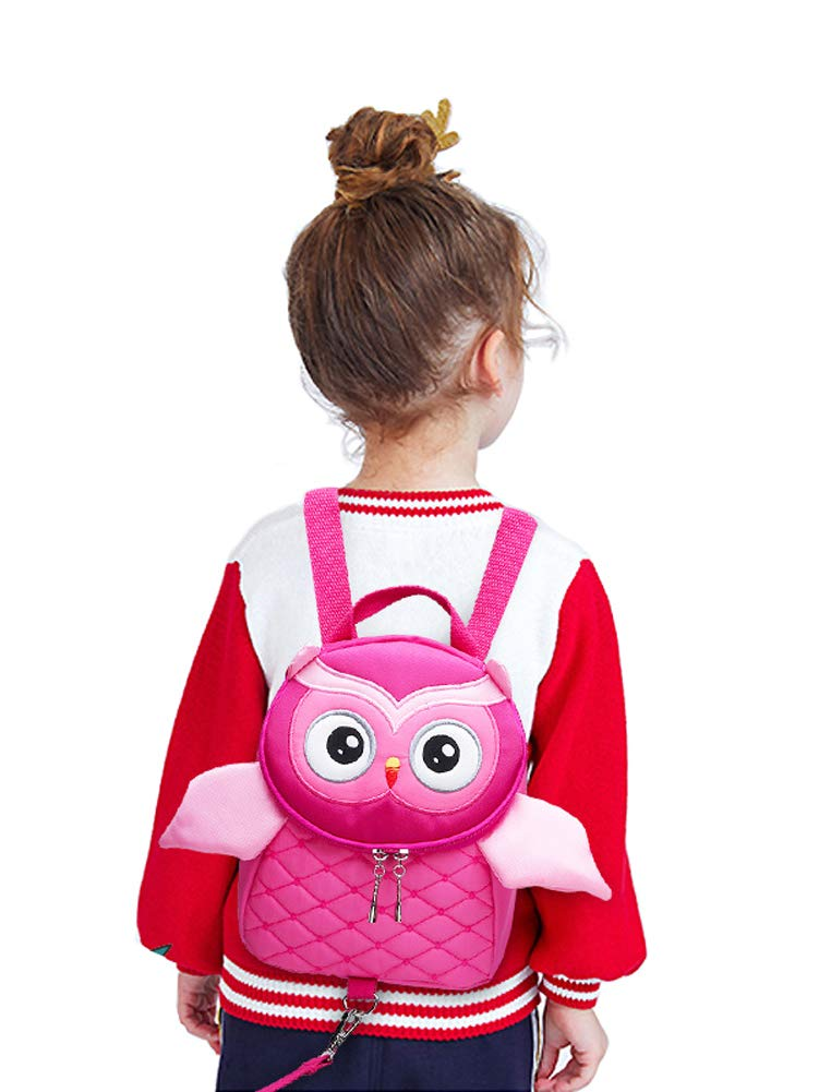 Toddler Anti-Lost Harness Backpack, Yuepin Cute Owl Baby Backpack with Safety Leash for Age 1-5 Years Old Kids (Pink)