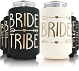 11pc Set of Bride Tribe & Bride Drink Coolers for Bachelorette Party, Bridal Shower & Wedding. 4mm Thick Bottle Sleeves/Can Coolies/Beverage Insulators (11pc Set, Black & Gold)