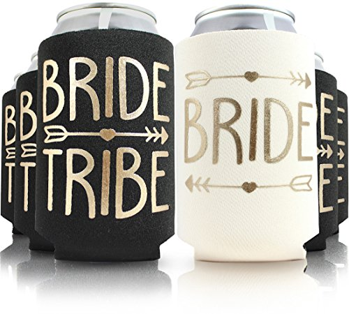6pc Or 11pc Set of Bride Tribe & Bride Drink Coolers for Bachelorette Party, Bridal Shower & Wedding. 4mm Thick Bottle Sleeves/Can Coolies/Beverage Insulators (6pc Set, Black & Gold)]()