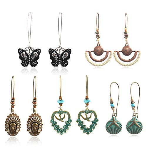 (COMMINY 5 Pairs Bohemian Vintage Dangle Drop Earrings, Metal Heart Skull Shape Hollow Pendant Earrings Set Boho Chic Jewelry for Women Girls)