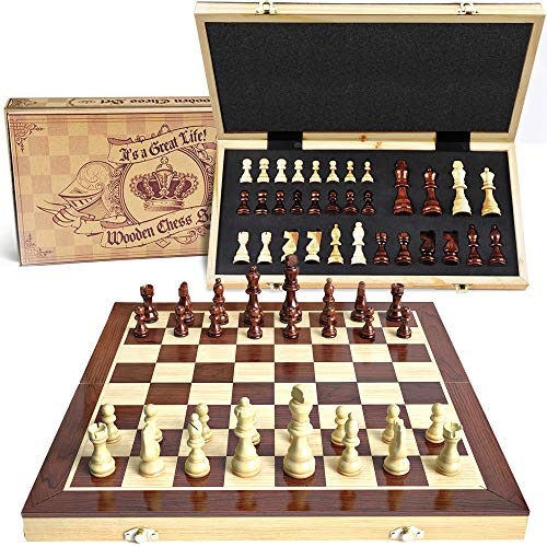 aGreatLife Wooden Chess Set: Universal Standard Board Game for All Ages | Well Crafted Chess Board and Pieces with Secure Storage for Pieces | Play Like a King Carrying a Unique Package (Pieces For Chess Glass Sale)