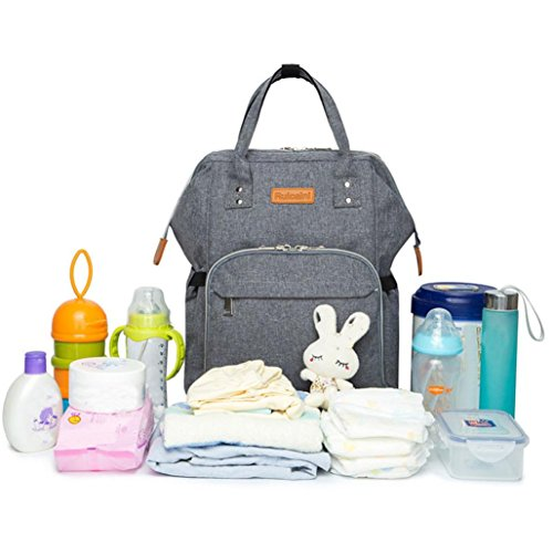 Ecosin Mommy Diaper Bags Backpack Baby Thermal Bag Portable Mother Nappy Tote Handbag Pack Women Traveling Bag Zipper Bag Shoulder Bag (Gray) by Ecosin