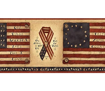 Amazoncom Flags And Ribbons Americana Wallpaper Border Home Kitchen