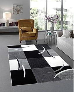 Moderner Designer Teppich Wohnzimmer Kurzflor 3D Konturenschnitt    Schadstofffrei   Grau Schwarz Weiss   80x150 Cm