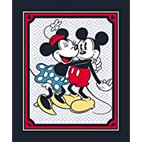 """Vintage Style Mickey & Minnie Mouse Cotton Fabric Panel (Great for Quilting, Sewing, Craft Projects, a Child's Quilt & More) 44"""" x 35"""" Wide"""