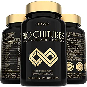 Probiotics Bio Cultures Complex – 20 Billion CFU & 15 Active Strains – 60 Acid-Resistant Capsules – Vegan Probiotic Supplements for Adults Women Men – Probiotic Tablets with Acidophilus