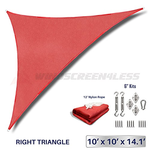 Windscreen4less 10 x 10 x 14 Right Triangle Sun Shade Sail with 6 inch Hardware Kit – Rust Red Durable UV Shelter Canopy for Patio Outdoor Backyard – Custom