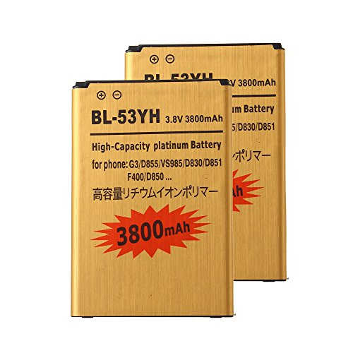 Click to buy 2 pcs Gold Extended LG G3 D855 High Capacity Battery BL-53YH For LG G3 D855 D850 LS990 VS985 3800 mAh - From only $13.99
