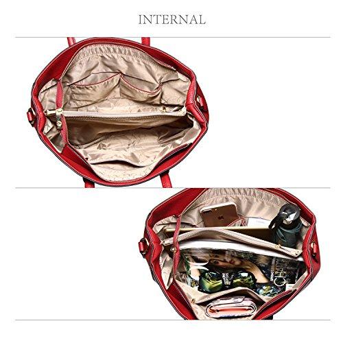 Xardi London - Bolso al hombro de piel sintética para mujer granate