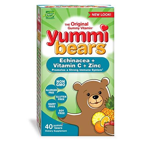 (Yummi Bears Immunity Vitamins, Gummy Vitamins with Echinacea, Vitamin C, & Zinc, 40 Gummies)