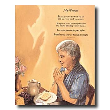 Amazoncom Old Woman Praying At Dinner Table Daily Bread Religious