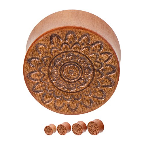 Hand Carved Organic Plug - BodyJewelryOnline Pair of Organic Ear Plugs - Hand Carved Mandala Cherry Wood Saddle-Fit Double Flare Plugs (10mm - 00g)