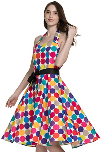 Samurai JP 1950s - 1960s Retro Classy Party Dresses for Women (Colorful Coin Dot Series) with Original Flower Hair Clip (US XL-XXL Size (Asia XXXL), Colorful ()