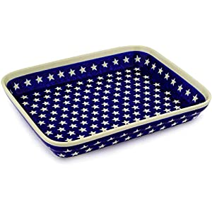 Polish Pottery Boleslawiec Oven Dish, Roasting, Medium, 30cm in STAR pattern