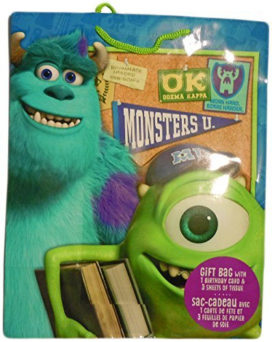 Monsters University Mike & Sully Large Gift Bag With Birthda