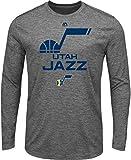 NBA Utah Jazz Men's March To Victory Long Sleeve Crew Neck Tee, Medium, Gray Heather