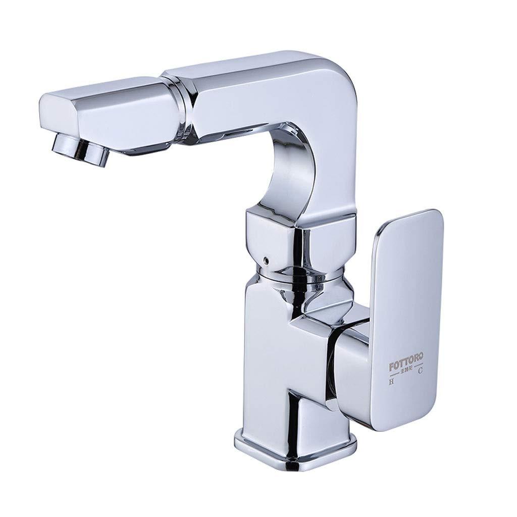 Jinxiaobei Solid Brass Faucet,Single Handle Adjustable Hot And Cold Faucet,Bathroom Toilet Faucet,Kitchen Faucet, 360°Degree redating Spout Faucet。