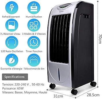 velocit/à,ventilatore Lumiereholic raffreddatore daria con telecomando,raffrescatore evaporativo con 7 litro umidificatore