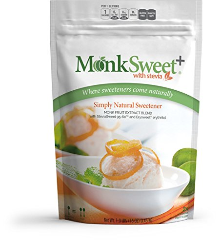 MonkSweet Plus - 1 lb bag/3 pack Monk Fruit, Stevia & Erythritol Blend NonGMO Low Carb Sweetener by Steviva (Image #2)