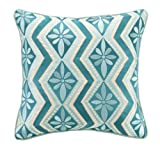 Kate Spain Bahir Embroidery Linen Pillow, 16 by 16-Inch, Blue
