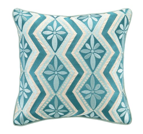 Kate Spain Bahir Embroidery Linen Pillow, 16 by 16-Inch, Blue by Kate Spain