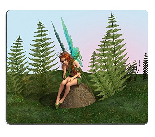 Liili Mouse Pad Natural Rubber Mousepad IMAGE ID: 20927407 3D digital render of a beautiful thoughtful fairy sitting on the stone in the green fantasy