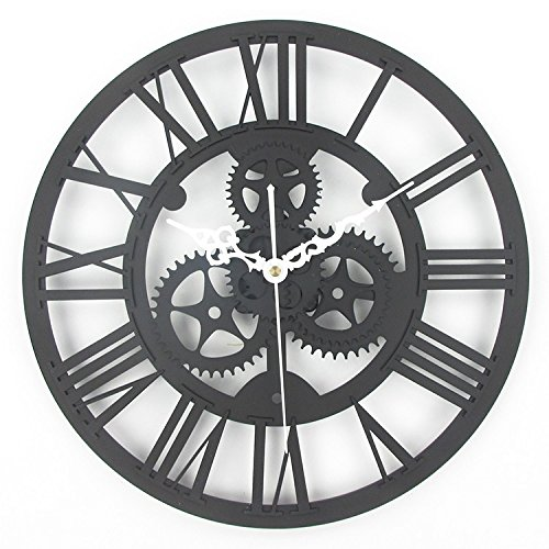 Antique Gears (Timelike 13 Inch European Antique Gear Wall Clock Vintage Mechanical Gear Clock Large Gear Wall Clock for Art Home Living Room Wall Decoration (Black))