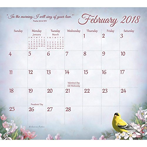 Legacy Publishing Group 2018 Magnetic Calendar Pad with Scripture, Songbirds of Faith