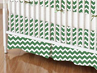 product image for SheetWorld 100% Cotton Percale Crib Skirt 28 x 52, Forest Green Chevron Zigzag, Made in USA
