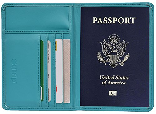 RFID Blocking Leather Passport Holder Cover & Travel Wallet ID Card Case (Blue)