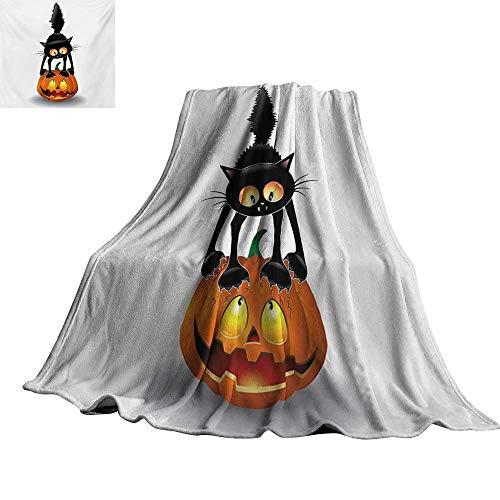 Angoueleven Halloween,Soft Blankets Black Cat on Pumpkin Drawing Spooky Cartoon Characters Halloween Humor Art All Season Blanket 50