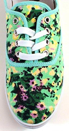 Easy USA Damen Canvas Schnürschuh mit gepolsterter Einlegesohle Gänseblümchen