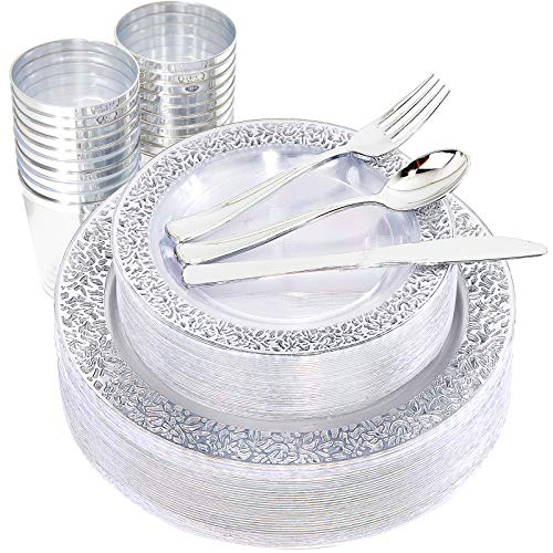 I00000 Silver Plastic Plates & Silverware & Cups, 150 PCS Clear Lace Design Dinnerware Set Includes 25 Dinner Plates, 25…