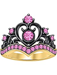 14K Two-Tone Gold Plated Heart Design Crown Princess Engagement Wedding Ring Round Created Pink Sapphire