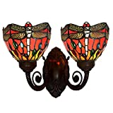 Bieye L10065 Dragonfly Tiffany Style Stained Glass Wall Sconce with 6 inches Shade (Red Double Uplight)
