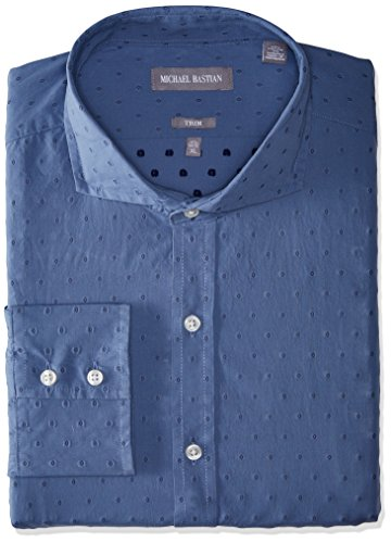 Michael Bastian Men's Slim Fit Spread Collar Dress Shirt, Neat/Blue/Indigo, 16.5
