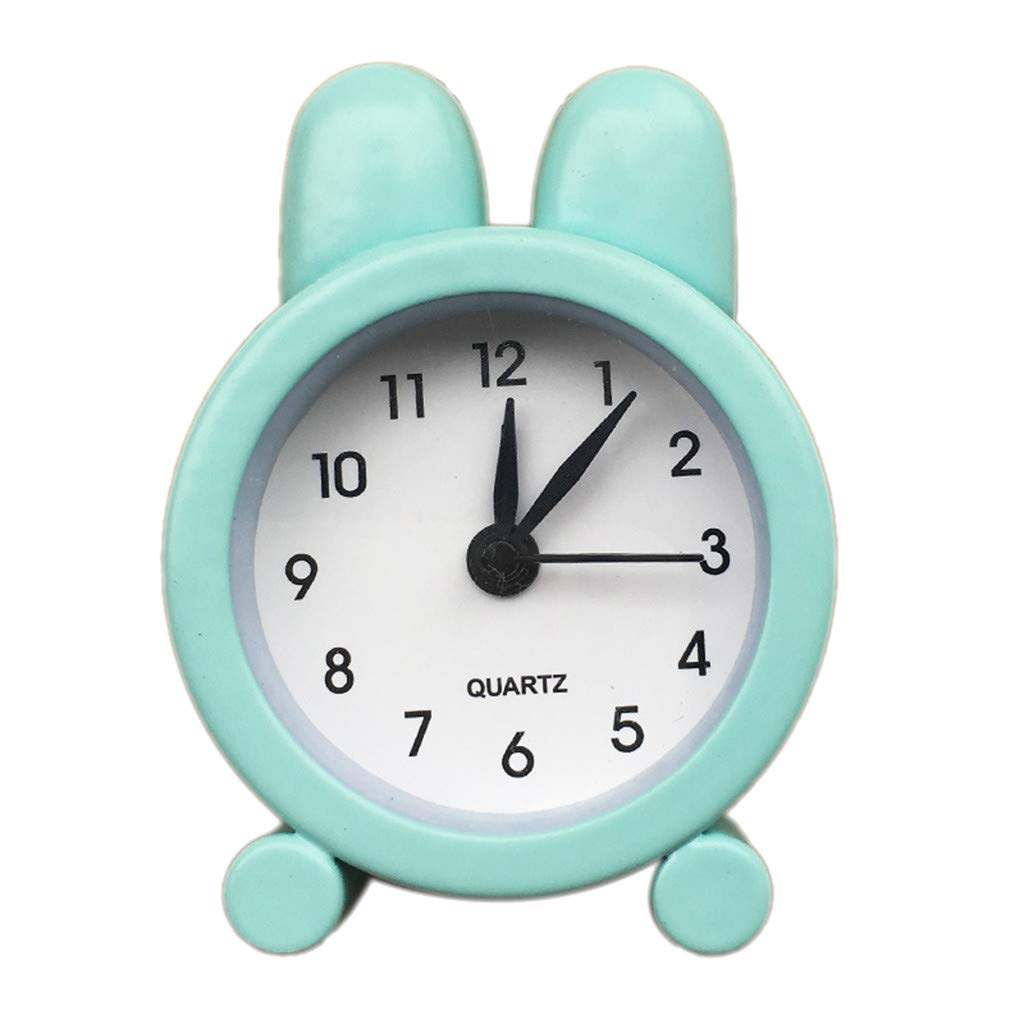 FIN86 Mini Alarm Clock,1/12 Scale Miniature Dollhouse Accessories Portable Cute Mini Rabbit Ear Alarm Clock Model Toy Kids Toy Home Bedside Table Desktop Decor (Green)